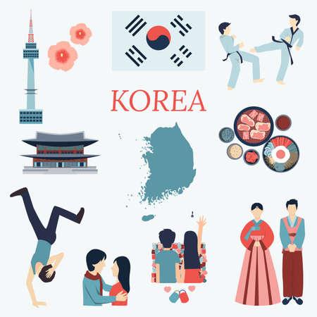 Alles über Korea. Flache Design-Elemente. KPOP Korean seriesflag Nation flowertaekwondomaptourist Attraktionen und etc. Vektorgrafik