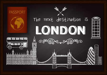 passeport: Griffonnages Londres sur tableau avec passeport 3D.