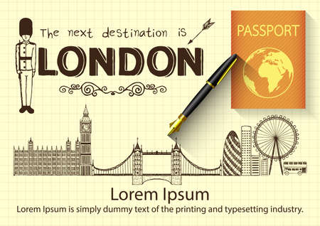 London doodles with 3D fountain pen and passport. Vector
