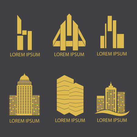 Gold flat logo on dark grey background for real estate business. Vector