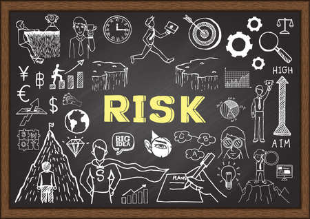 dangerous work: Business doodles on chalkboard with the concept of risk. Illustration