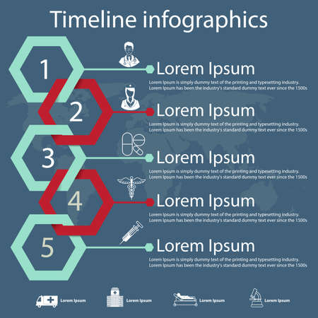 medical report: Time line infographics template with hexagonal paper effect showing a range of five options in text boxes with medical icons.