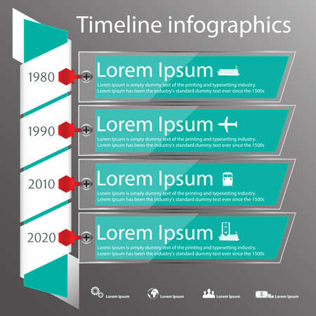 time of the year: Time line infographics vector template with transparent frames showing year numbers in text boxes. Icons for shipping business.