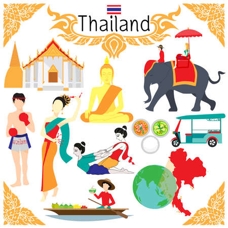 thailand art: Flat elements for designs about Thailand including the word THAI BOXING in Thai on boxing shorts.