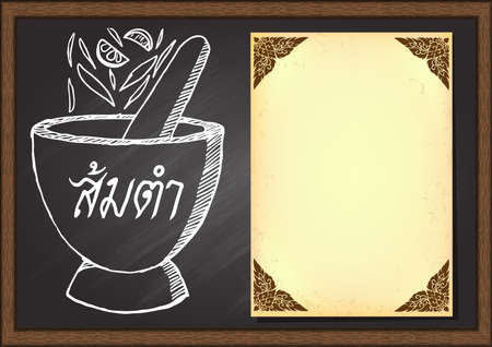 Hand drawn mortar with ingredients for cooking papaya salad with old paper for menu list on chalkboard design template.Thai food. The word Somtum Papaya salad in Thai on mortar. Illustration