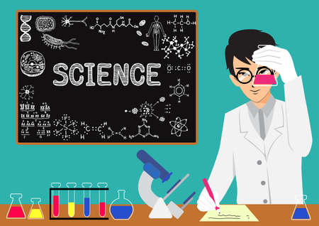 Scientist doing research in the laboratory with chalkboard background. Vector