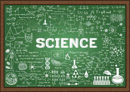 Hand drawn science on chalkboard.