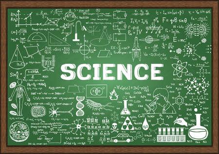 pizarron: Dibujado a mano la ciencia en la pizarra.