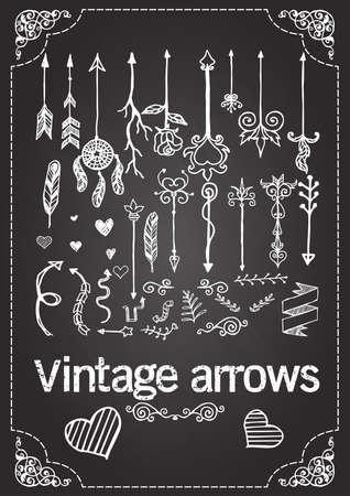 boho: Hand drawn vintage arrows on chalkboard.