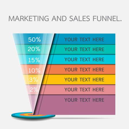 Funnel for presentation or infographics Stock Illustratie