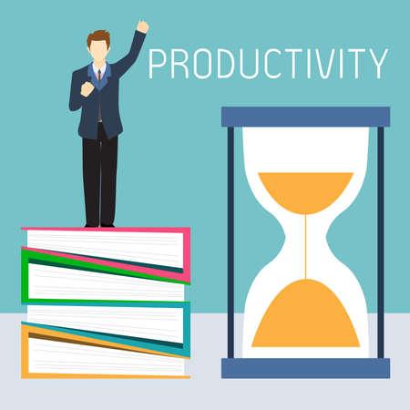 productividad: Hombre de negocios Productiva puede terminar sus trabajos dentro de plazo. Vectores