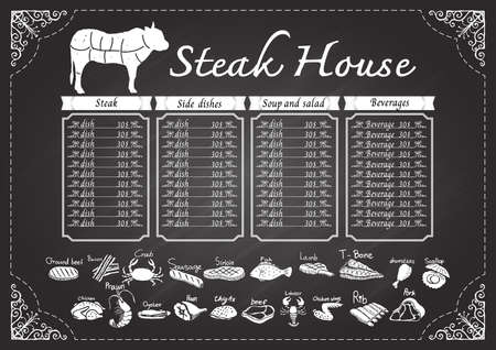 ground beef: Steak house menu on chalkboard design template.