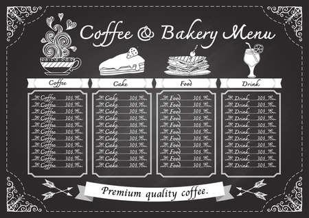 手は、黒板のデザイン テンプレートでコーヒー メニューを描画します。