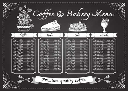 Hand drawn coffee menu on chalkboard design template. Illustration