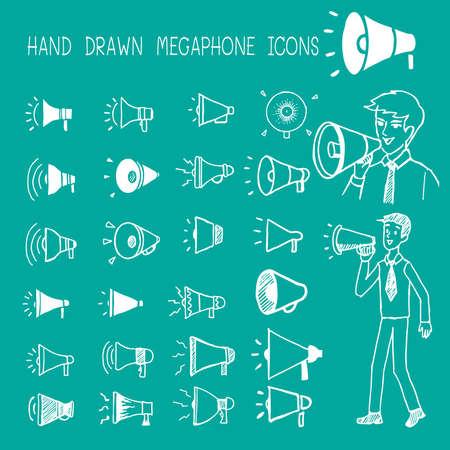 Hand drawn megaphone icons. Stock Illustratie