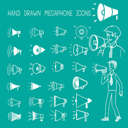 Hand drawn megaphone icons. Illustration
