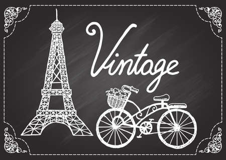 Hand drawn Eiffel tower and vintage bicycle on chalkboard with ornamental swirl. Vector
