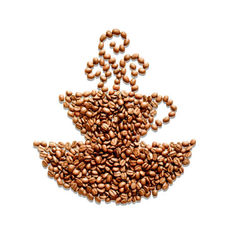 arrange: Coffee beans are arrange in a shape of a cup of hot coffee.