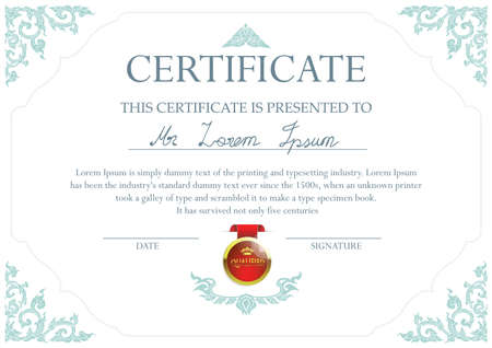qualified: Certificate design template with Thai art frame and 3d red qualified badge. Illustration