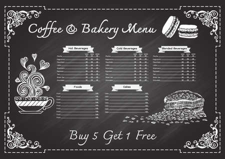 milk tea: Hand drawn coffee and bakery menu on chalkboard with ornamental frame design template. Illustration