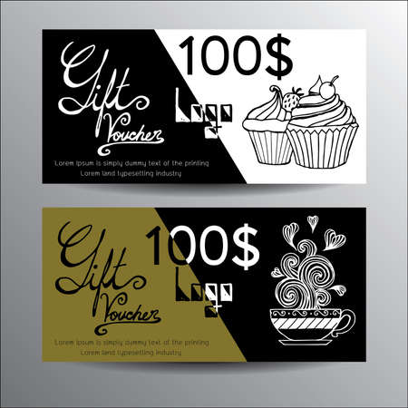 Voucher design template with hand drawn cup cake and a cup of coffee. Vector Vector