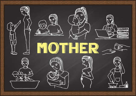 Doodles about mother on chalkboard. Vector