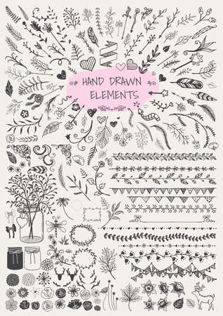 手描き花矢印装飾用フレーム枠の大きなセット ブラケット石工瓶角や装飾用など。ヴィンテージの要素。
