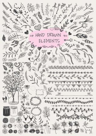 pluma: Gran conjunto de dibujado flechas floral marcos ornamentales frontera mano Soportes tarros de albañil cuernos y etc. para la decoración. Elementos de la vendimia. Vectores