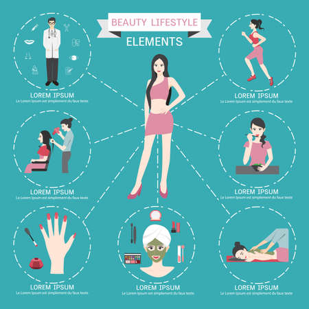 asian woman: Beauty lifestyle elements info graphics.