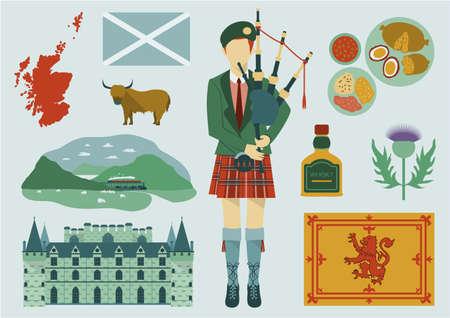 すべてのスコットランドの要素。  イラスト・ベクター素材