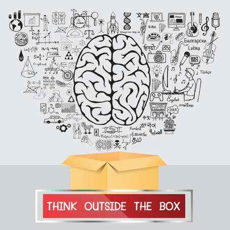 outside the box: Think outside the box. Hand drawn business plan and education.