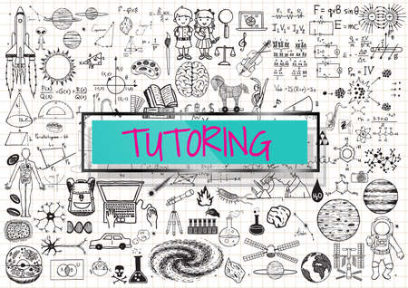 Tutoring doodle with 3d transparent frame with the word TUTORING.
