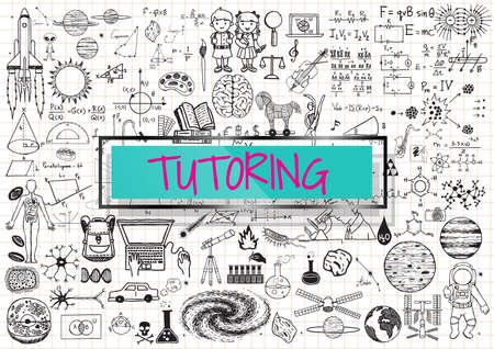Tutoring doodle met 3d transparant frame met het woord TUTORING.