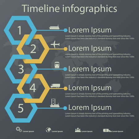 steel: Time line infographics template with steel blue and gold colors paper effect showing a range of five options in text boxes.