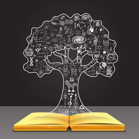 Grow your knowledge concept. Education doodles in the tree shape on open book.