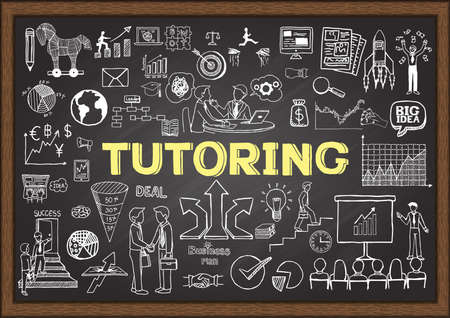 word cloud: Doodles about tutoring on chalkboard.