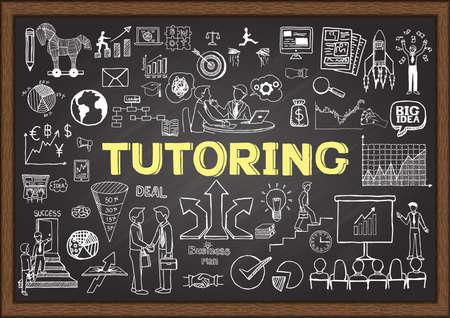 Doodles sobre la tutoría en la pizarra. Ilustración de vector