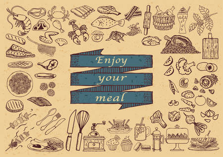 Big set of hand drawn restaurant icons with the phrase ENJOY YOUR MEAL on hand drawn ribbon.