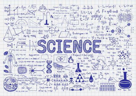 手は、紙に科学を描かれました。  イラスト・ベクター素材