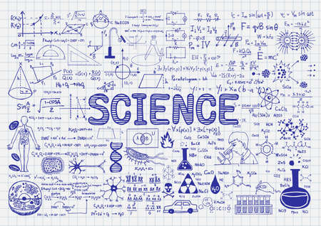 Hand drawn science on paper.