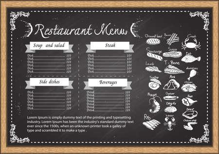 crepas: Menú del restaurante de diseño de la plantilla pizarra. Vectores
