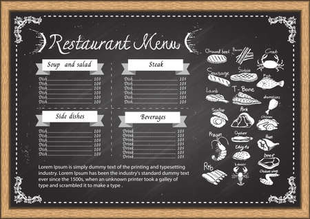 crab meat: Restaurant menu on chalkboard design template.