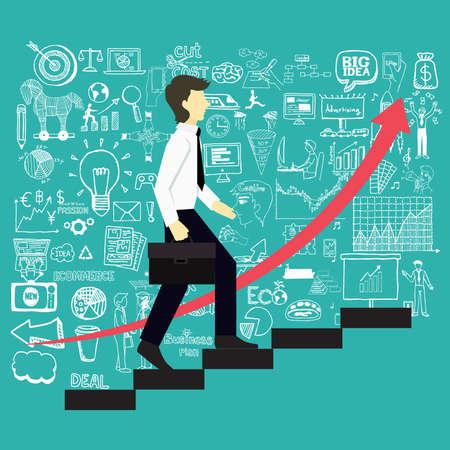 Een zakenman stapt trappen naar een succesvolle punt met zakelijke doodles achtergrond.
