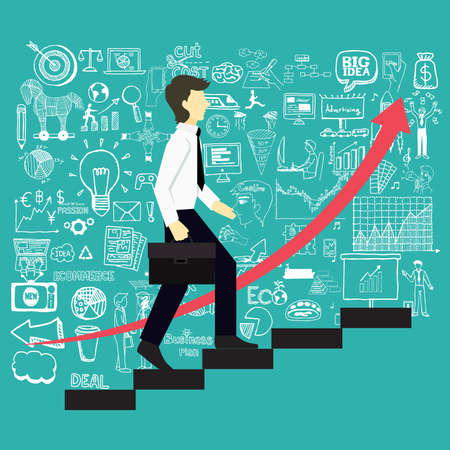 A business man steps up stairs to successful point with business doodles background.
