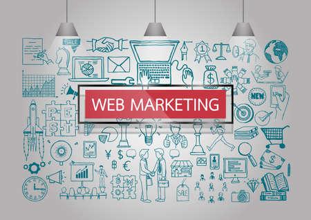 Business Kritzeleien über Web-Marketing an der Wand mit roten transparenten Rahmen und Lampen.