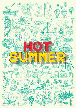 flip flop: Hot summer activities doodles like fishing, beach valley ball, BBQ party, hot air balloon fiesta ,diving,cycling,music festival,surfing and etc.