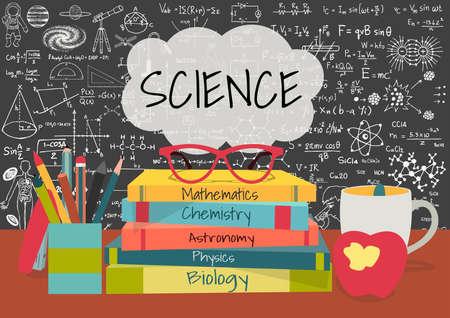 simbolos matematicos: CIENCIA en las burbujas del discurso por encima de los libros de ciencia, caja de lápices, manzana y taza con garabatos de ciencias en el fondo pizarra.