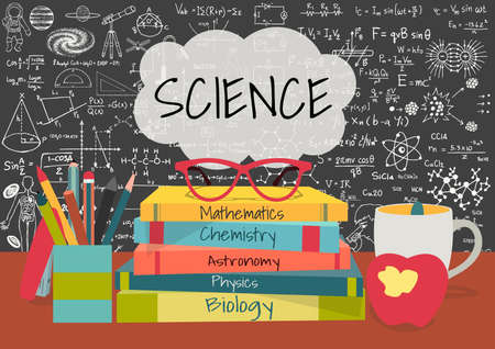 SCIENCE in speech bubbles above science books, pens box,apple and mug with science doodles on chalkboard background. Иллюстрация