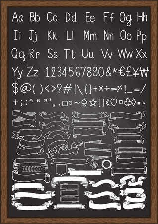others: Hand drawn uppercase and lowercase fonts and others symbols on keyboard with hand drawn ribbons. Illustration