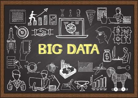 chalkboard: Business doodles about BIG DATA on chalkboard. Illustration